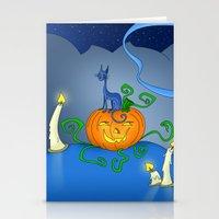 Halloween - Cat On Pumpkin Stationery Cards