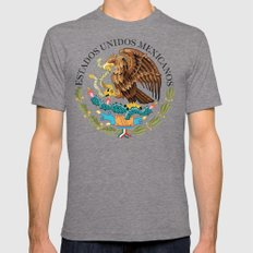 Mexican National Coat of Arms & Seal on Adobe Red Mens Fitted Tee Tri-Grey SMALL