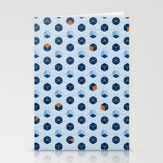 Blue Cubes Stationery Card