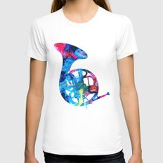 Colorful French Horn 2 - Cool Colors Abstract Art Sharon Cummings Womens Fitted Tee White SMALL