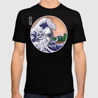 THE GREAT WAVE Mens Fitted Tee Black SMALL