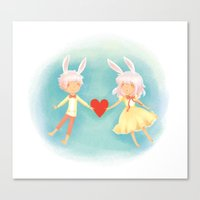 Bunny Hearts Canvas Print