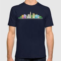 Park Slope Skyline (Color) Mens Fitted Tee Navy SMALL