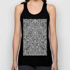 Abstract Lace on Grey Unisex Tank Top