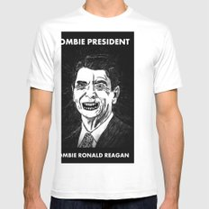 40. Zombie Ronald Reagan Mens Fitted Tee SMALL White