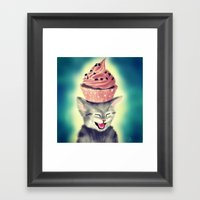 Cupcake Kitten Framed Art Print