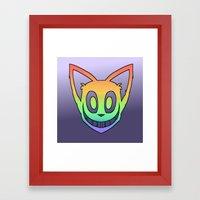 Rainbow Cat Head (black … Framed Art Print