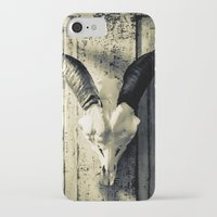 animal skull iPhone & iPod Cases featuring Animal Skull I (Duotone) by Digital.Soapbox