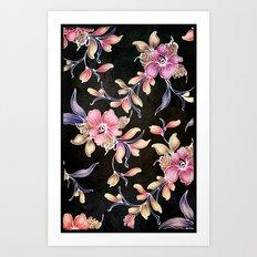 BLACK VINTAGE FLOWERS - for iphone Art Print