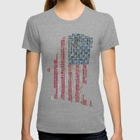 United States Flag Map With Major Cities Womens Fitted Tee Tri-Grey SMALL
