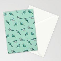 doodle birds - mint Stationery Cards