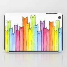 Cat Rainbow Watercolor Pattern iPad Case