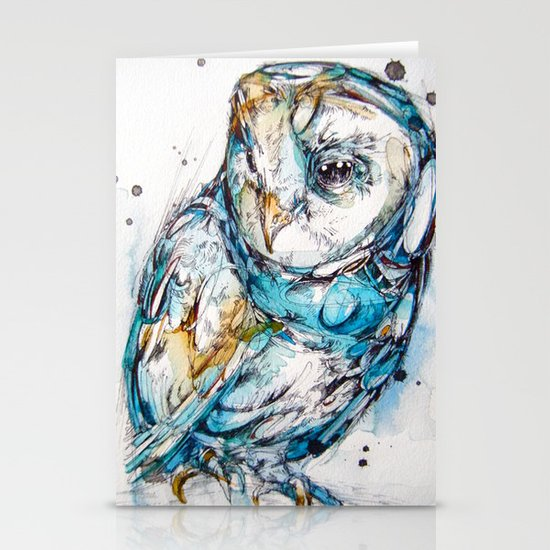 The Sea Glass Owl Stationery Card