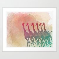 Giraffes Running Into A … Art Print
