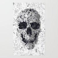 Doodle Skull BW Rug