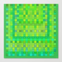 Wild Green Blocks and Dots Canvas Print