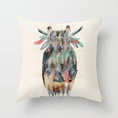 the native owl Throw Pillow