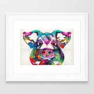 Colorful Pig Art - Squea… Framed Art Print