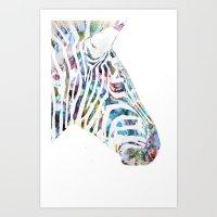 zebra Art Prints featuring Zebra by NKlein Design