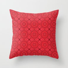 Tiled red rose kaleidoscope Throw Pillow