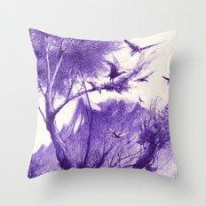 blaue Vögel Throw Pillow