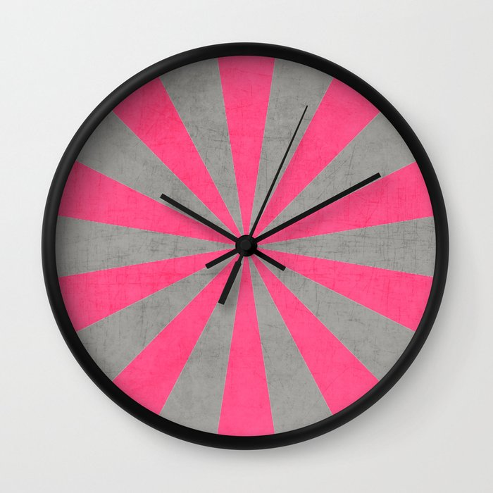 gray and hot pink starburst wall clock by her art society6