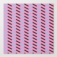 Blue and Black Chevron on Hot Pink Canvas Print
