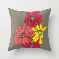 Grey Flowers Throw Pillow