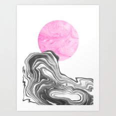 Sun - spilled ink marble sun space outer space planet moon stars marbled ink watercolor painting Art Print
