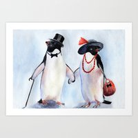 penguin Art Prints featuring Penguin by Anna Shell