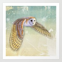 Barn Owl Labyrinth Art Print
