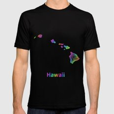 Rainbow Hawaii map Black SMALL Mens Fitted Tee