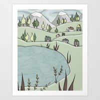 Lakeside Village Art Print