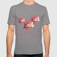 Pretty pink rose garden flower. Floral nature photography.   Mens Fitted Tee Tri-Grey SMALL