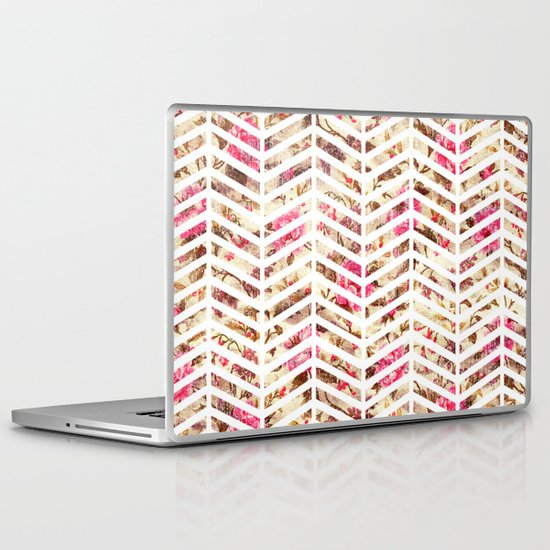 Pink Vintage Floral Girly Chevron Zig Zag Pattern Laptop & iPad Skin