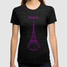 Paris Womens Fitted Tee Tri-Black SMALL