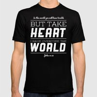 John 16:33 Mens Fitted Tee Black SMALL