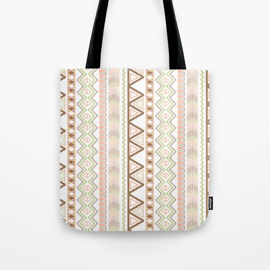Aztec Andes Pattern Pink Brown Abstract Geometric Tote Bag