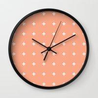 Peach Cross // Peach Plu… Wall Clock