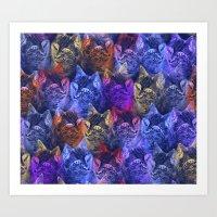 PRECIOUS GLITTER CAT NEON PERIWINKLE BLUE Art Print