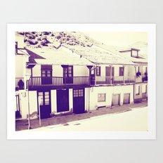 Old Spanish houses black and white vintage Art Print