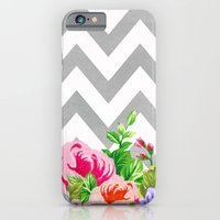 iPhone & iPod Case featuring FLORAL GRAY CHEVRON by natalie sales