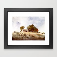 Lonely house on a hillfarm Framed Art Print