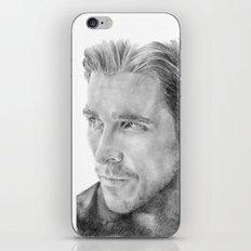 Christian Bale Traditional Portrait Print iPhone & iPod Skin