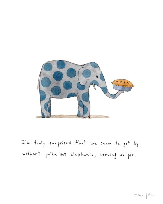 polka dot elephants serving us pie Art Print