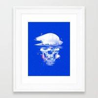 Blue glitch of death Framed Art Print
