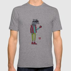 006_raccoon Mens Fitted Tee Athletic Grey SMALL