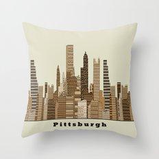 Pittsburgh Skyline Vinta… Throw Pillow