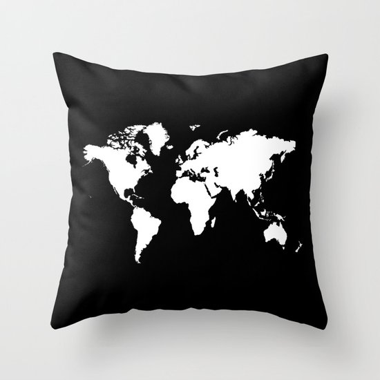 Black And White World Map Rug: Black White World Map Throw Pillow By Haroulita