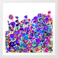 Flower Fields Blue Art Print
